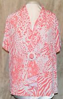 Simonton Says Gorgeous Animal Print Milky Knit Blouse Sequin Brooch Flamingo 3x