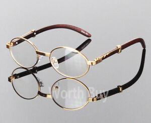 Womens-Men-Retro-Vintage-Clear-Lens-Gold-Wood-Frame-Fashion-Designer-Eye-Glasses