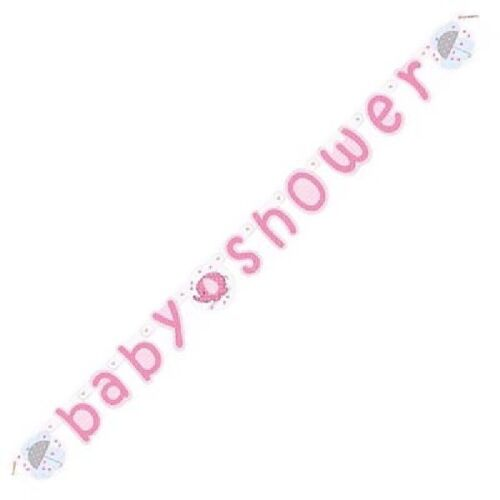 ** 5ft GIRLS BABY SHOWER JOINTED BANNER PINK ELEPHANT PARTY DECORATION NEW **