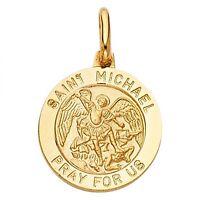 14k Yellow Gold St. Michael Religious Charm Pendant Gjpt282