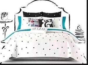 KATE-SPADE-NEW-YORK-Polka-Deco-Dot-FULL-QUEEN-3pc-Comforter-Set-BLACK-WHITE
