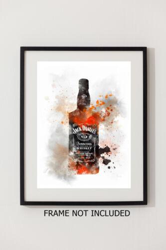 Whisky Bottle Gift Wall Art ART PRINT Jack Daniels illustration Alcohol