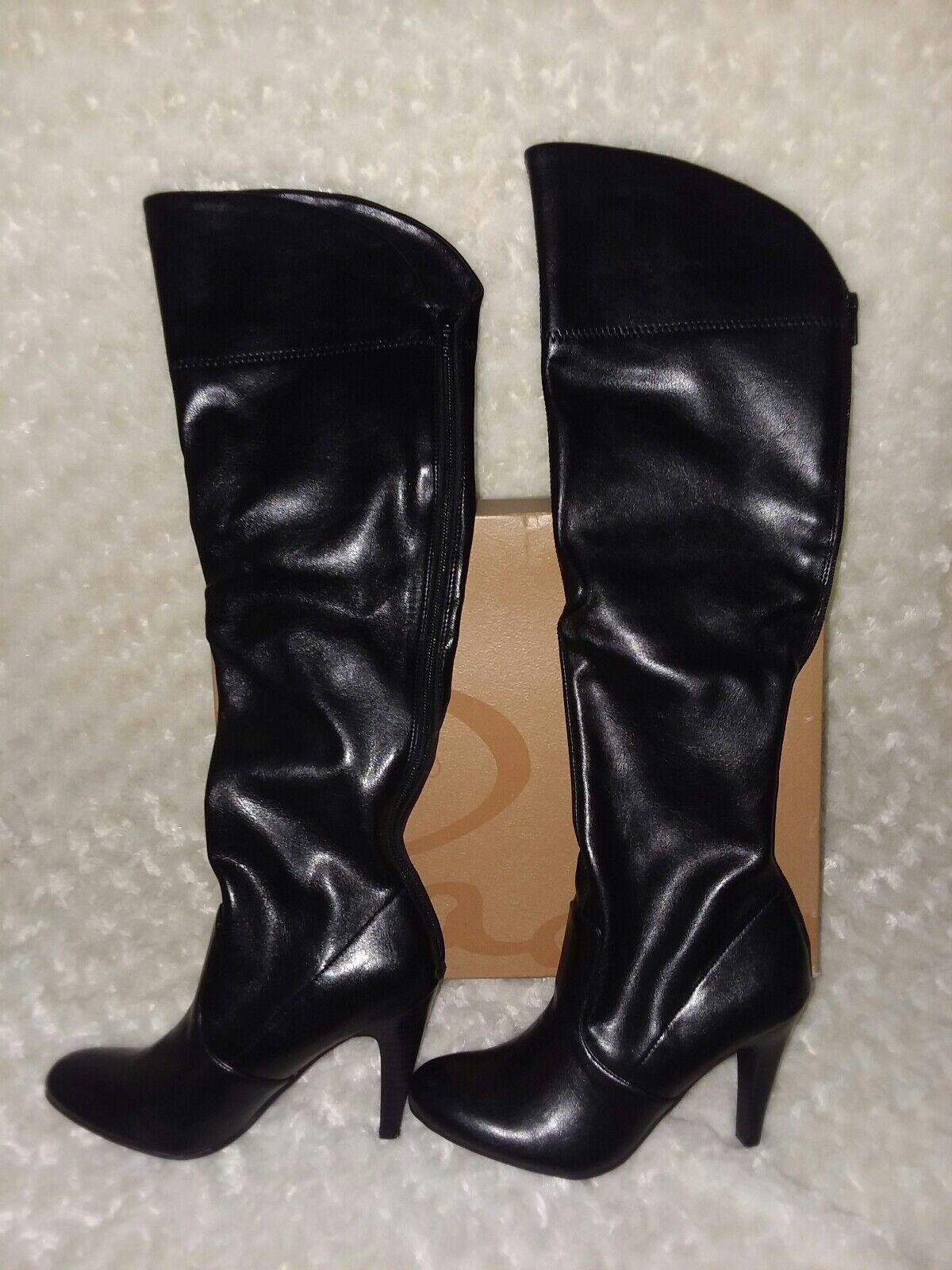 Studio Paolo Tall Black Knee Boots Sammy Womens Sz 6 NIB Back Zipper Heels