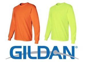 Gildan-Safety-Green-amp-Safety-Orange-Long-Sleeve-T-Shirt-HIGH-VIS-ANSI-Tee-2400