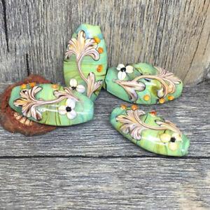 10pcs-handmade-Lampwork-glass-green-flower-beads-15-30mm
