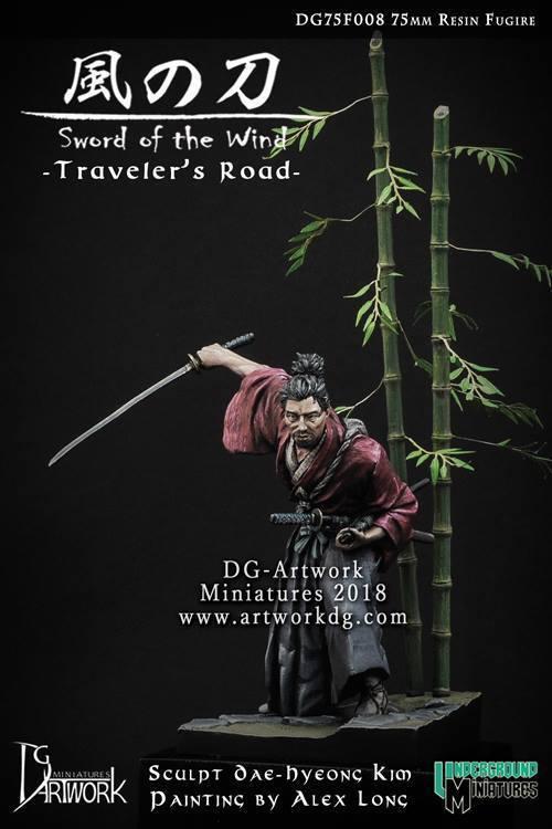 DG Artwork Traveller's Road Samurai Ronin inc. scenic base 75mm Unpainted kit