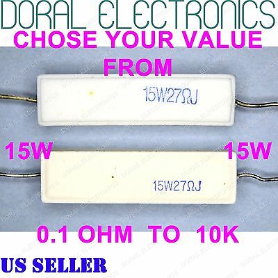 2 Pcs 20W Watt 15 Ohm 5/% Ceramic Cement Power Resistor