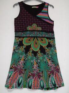 Desigual Tres Belle Robe D Ete Noire Verte Fille 12 13 Ans Ebay