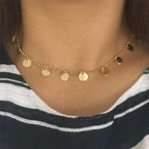 Kette Runde Anhänger Vergoldet Halskette mit Mehreren Plättchen Edelstahlschmuck