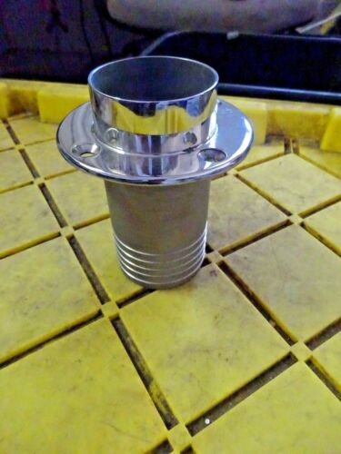 """STAINLESS STEEL 2 1//2"""" BARB Exhaust Tip   THRU HULL MARINE BOAT 5/""""LONG  4/""""L BARB"""