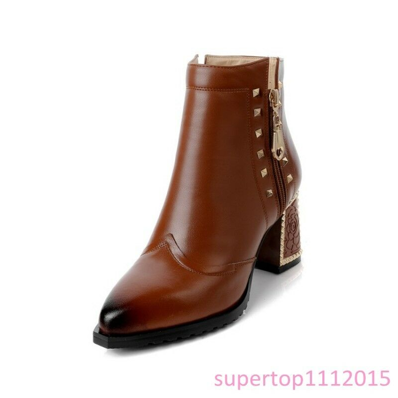 New Womens Ankle Boots Leather Zipper Rivet Block Heels Pull Pull Pull On Fashion OL shoes f49a83