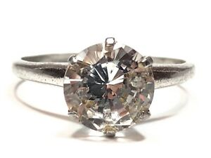 Beautiful-Ladies-Sterling-Silver-CZ-Travel-Engagement-Ring-Size-6-5-Solitaire