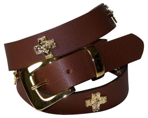 FRONHOFER Gürtel Damen 3 cm goldene Kreuze Nietengürtel goldene Schnalle