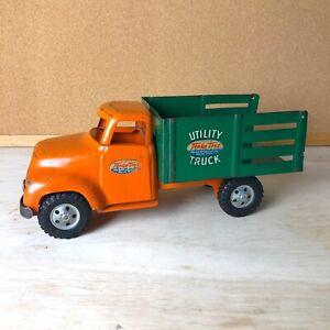 VINTAGE-1950s-MOUND-TONKA-TOY-UTILITY-TRUCK-PRESSED-STEEL-Orange-Green