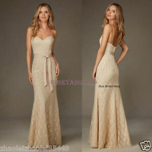 Image Is Loading New Champagne Lace Bridesmaid Dresses Mermaid Formal Evening