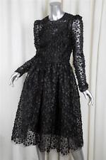 DOLCE & GABBANA Womens F12 Black $16K Floral Applique Lace Dress w/ Slip 38/2 XS