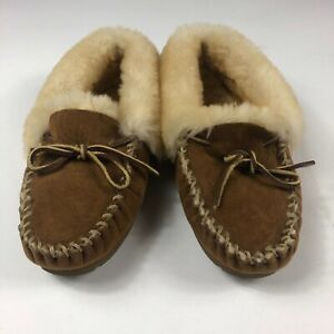 LL-Bean-Womens-05488-Sz-8-M-Tan-Suede-Leather-Shearling-Lined-Slipper-Moccasins