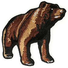 Embroidered Brown Bear Full Body Iron on Sew on Biker Patch Badge