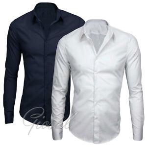 Camicia-Uomo-Slim-Fit-Cotone-Elastico-Manica-Lunga-Tinta-Unita-S-M-L-XL-GIOSAL
