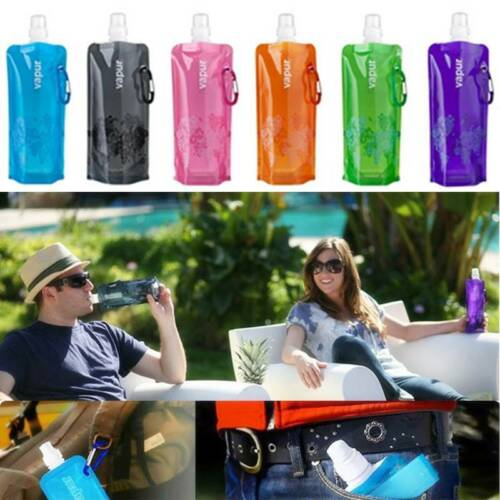 Environmental Foldable Water Bottle Reusable Ice Bag Pouch Outdoor Hiking Sports