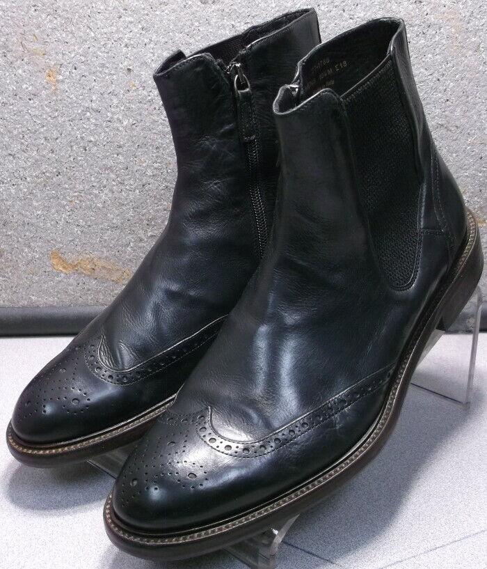 271788 pfibt 60 Zapatos de hombre M Negro Cuero Hecho en Italia Johnston Murphy
