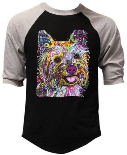 Neon Yorkie Black Baseball Raglan T Shirt Bright Colorful Paint 90/'s Dog Tee
