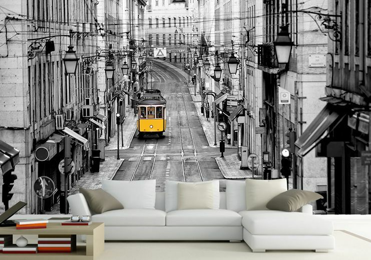 3D Street Tram Gelb Paper Wall Print Wall Decal Wall Deco Indoor Wall Murals