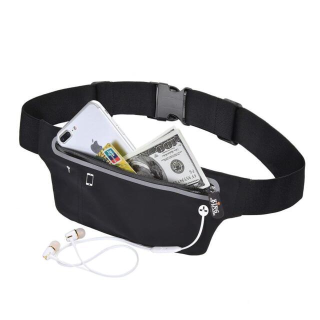 Black Unisex Waist Belt Bum Bag Jogging Running Travel Pouch Keys Mobile Money