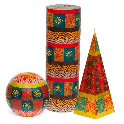 Kapula Fair Trade South African Hand Painted Candles /' Animal Print Design /'