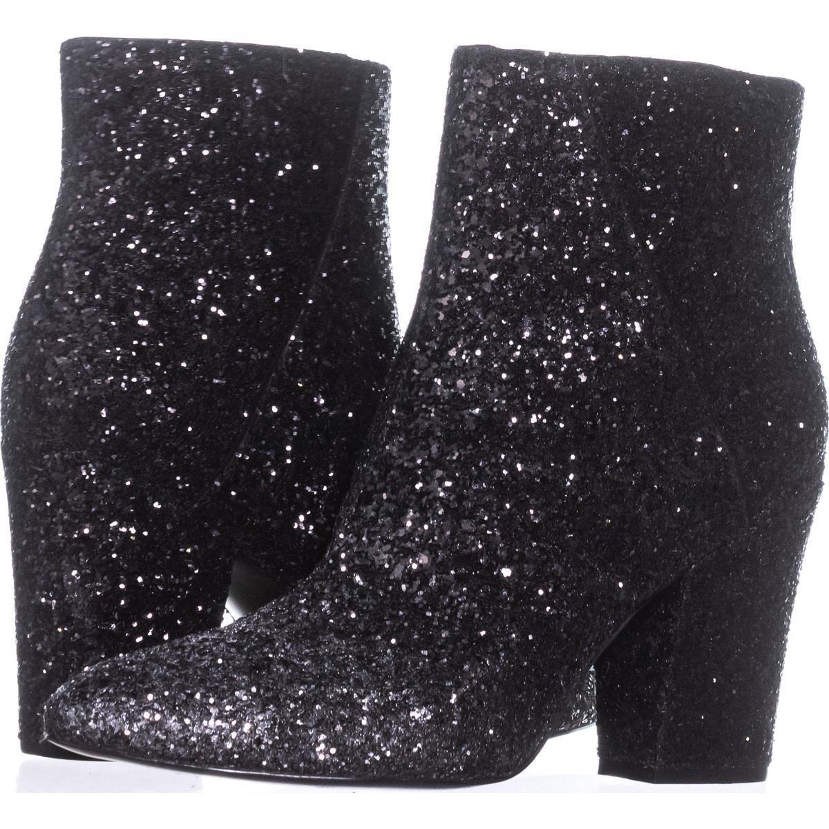 Nine West Savitra Black Silver 8 M Sparkle Synthetic Ankle Fashion Boots Booties