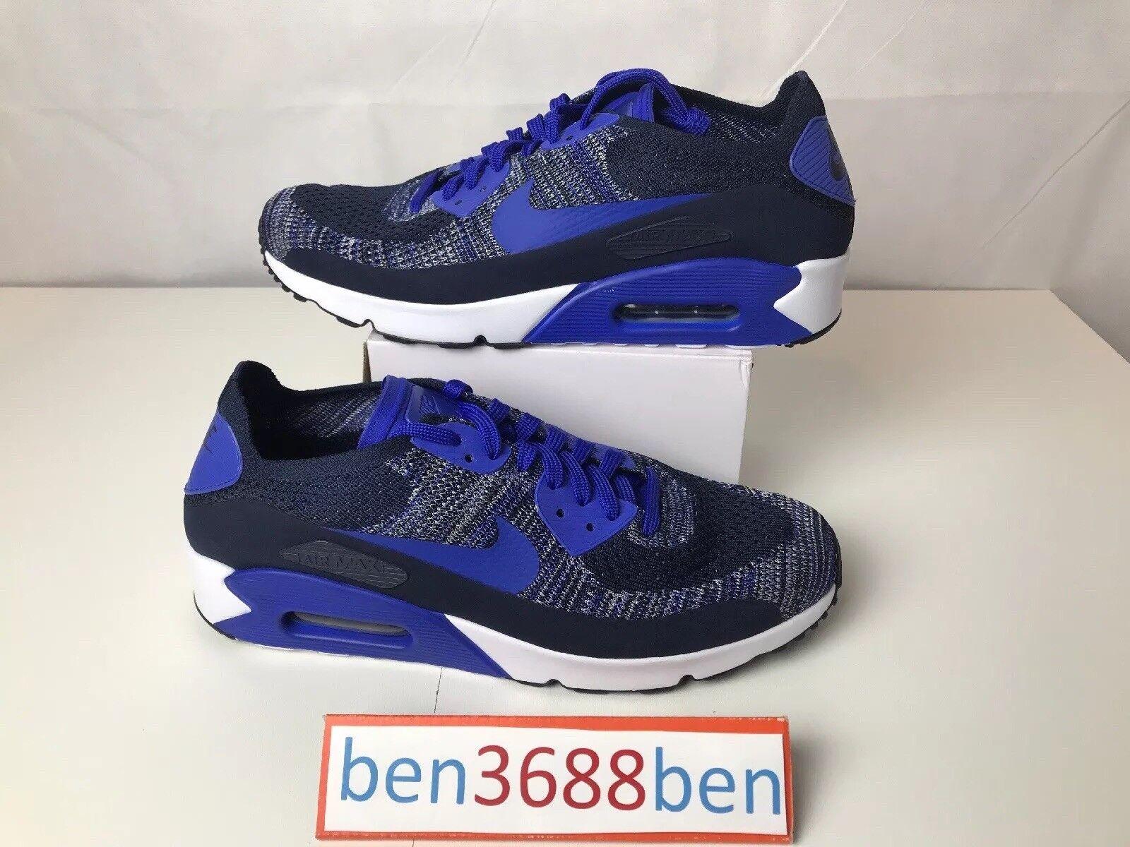 Nike air max 90 ultra dimensioni 2,0 flyknit blu 875943-400 10,5 in nuove dimensioni ultra c13a83