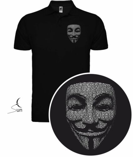 Polo Shirt Anonymous V for Vendetta Wikileaks Cyber Hack T-Shirt Sil Pl001p