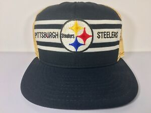Vintage-80s-Pittsburgh-Steelers-Trucker-Hat-Mesh-Black-Made-in-USA-NFL-Football