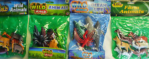 6 x Toy Model Action Figures Wild, Farm Animals, Reptiles, Sea Creatures 4 Sets