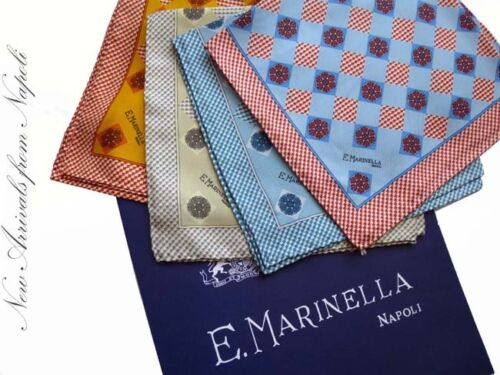 pure silk Marinella Pocket Square Red neat pattern