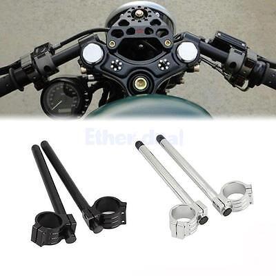 Universal 37mm CNC Fork Clip-ons Handle Grip Handlebar for Motorcycle Black