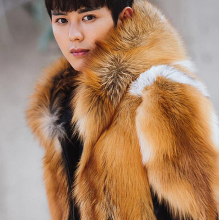 herren Hooded Faux Fur Overcoat Winter Thicken Warm jacke männer Outwear Stylish G5