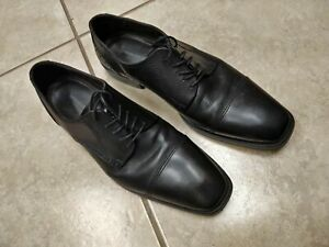 Mens-Johnston-amp-Murphy-Black-Leather-Cap-Toe-Oxford-Dress-Shoes-Size-12