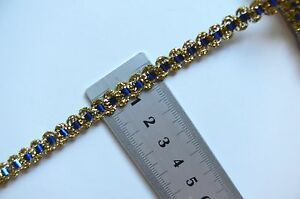 Metallic-Braid-GOLD-with-BLUE-Threaded-6mm-wide-2-Metre-Lengths-003209-Birch