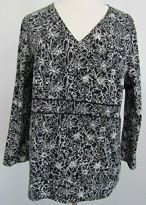Talbots-Womens-Top-Size-Large-Black-White-Floral-Long-Sleeve-V-Neck