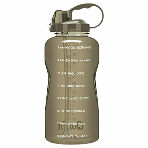 Water Bottle with Straw and Motivational Time Marker Leak Proof BPA Free Reusabl