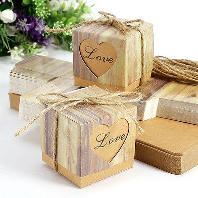 50pcs Caja kraft Papel Madera diseño para Dulces Chocolates Regalos Boda Rústica