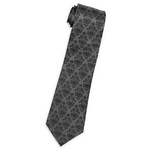 18f7ec049 Details about NEW Disney Parks Haunted Mansion Wallpaper Grey Silk Tie  Necktie - Gray Black