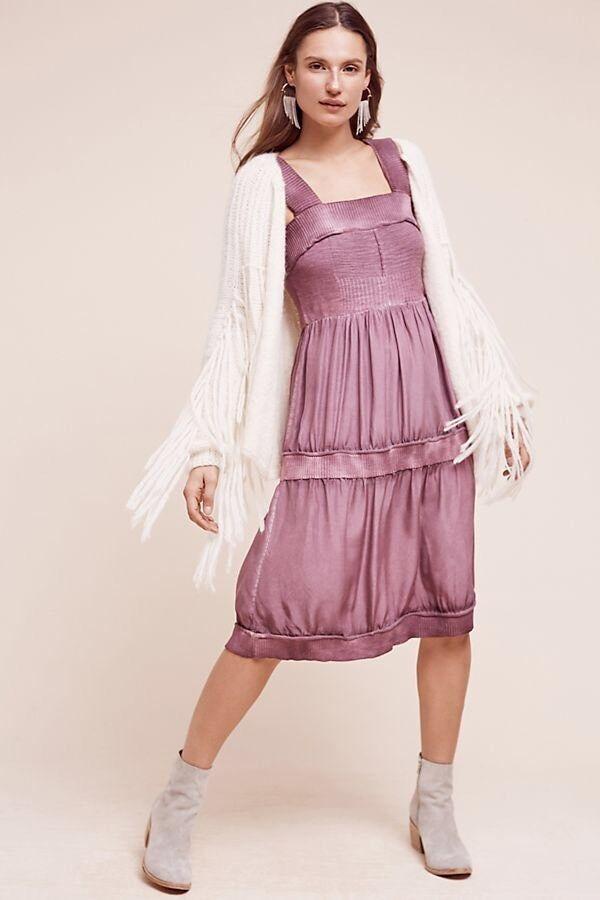 Anthropologie Silk & Sweater Chemise Midi Dress By Eloise Size Sz L Large