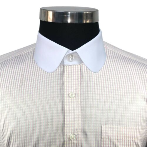 Club collar Mens Peaky Blinder style Penny collar shirt Pink checks Round Gent