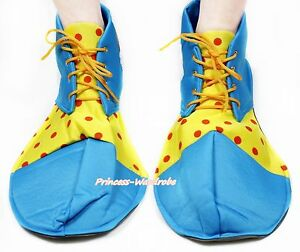 Peacock-Blue-Red-Yellow-Polka-Dots-Jumbo-Extra-Large-Clown-Costume-Party-Shoes