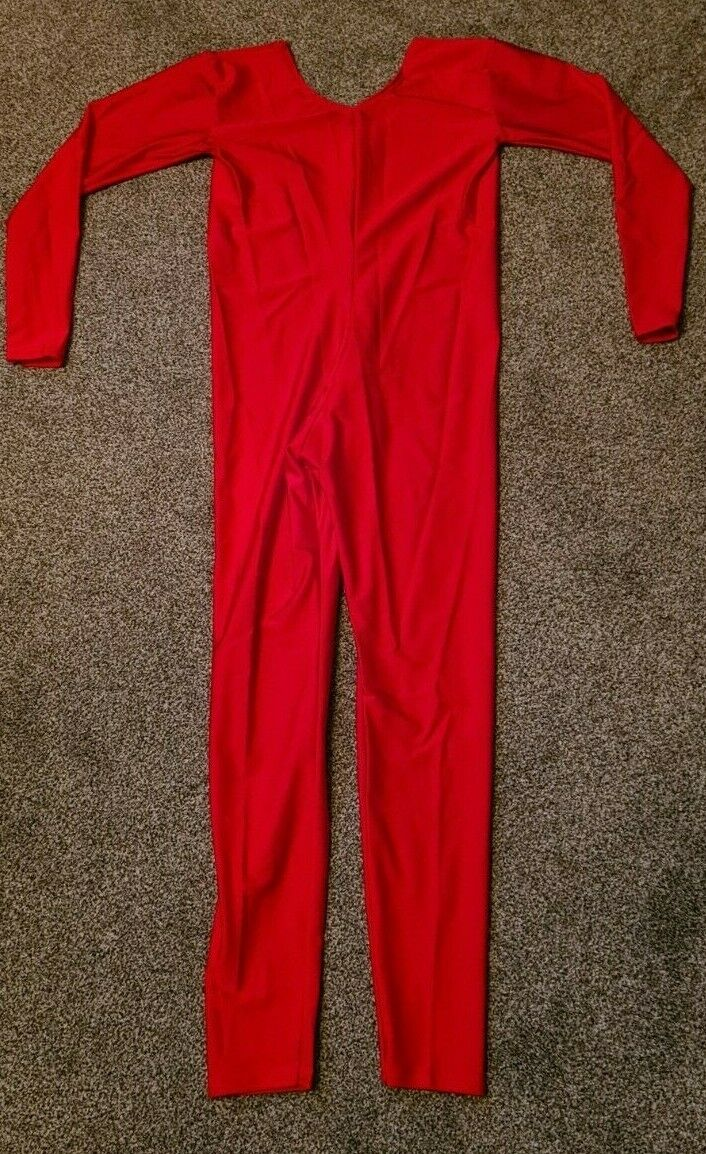 Red Shiny Lycra Long Sleeved Catsuit Dance Unitard Spandex Small UK 8-10 32/34