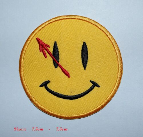 SEW ON PATCH EMBROIDERED BADGE Smily face with red arrow LOGO IRON
