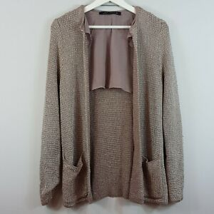 ZARA-Womens-Metallic-Knitted-Jacket-Size-S-or-AU-10-US-6