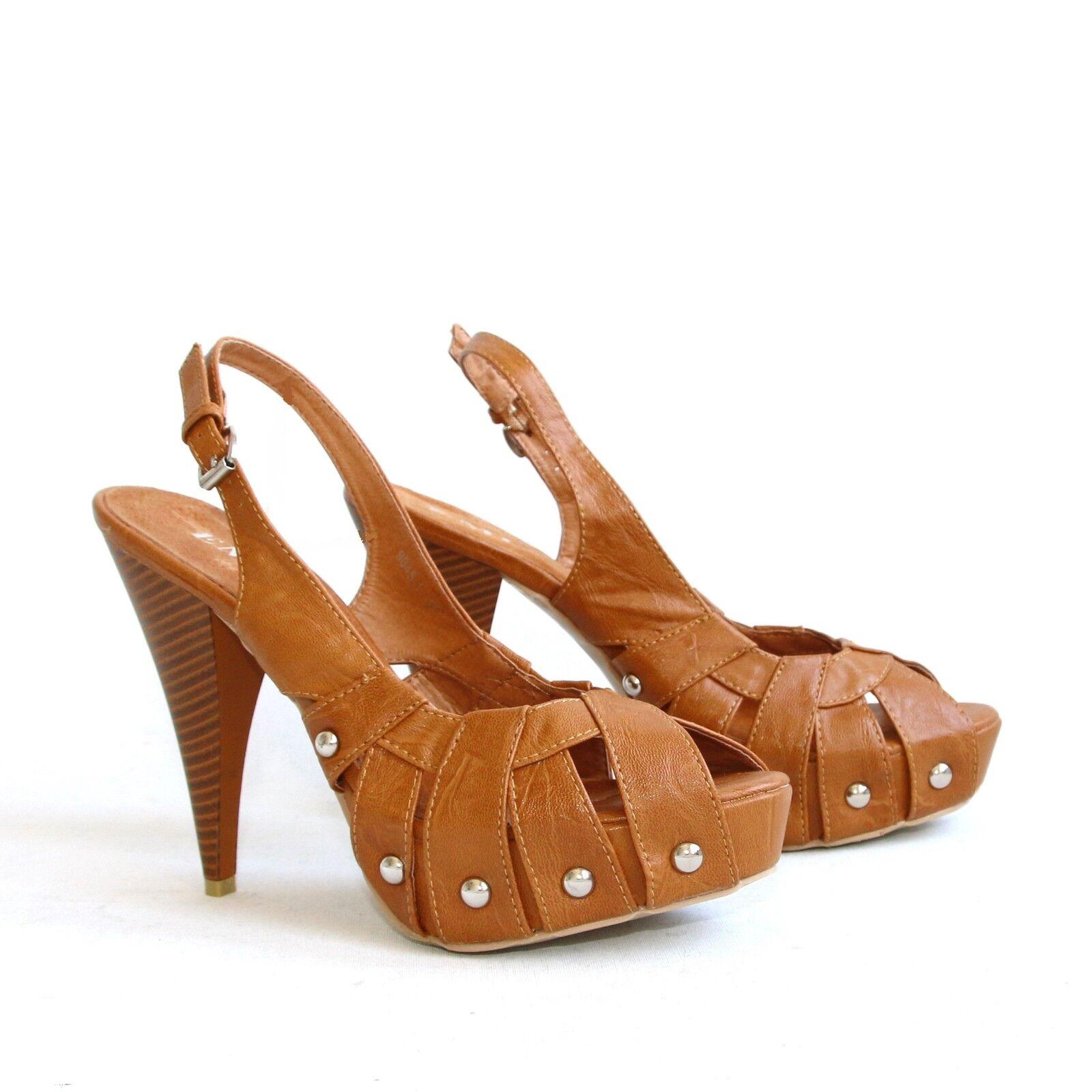 Plateau Riemchen Sandaletten 37 Braun Pumps High Heels Stilettos Shoes 9045-1.